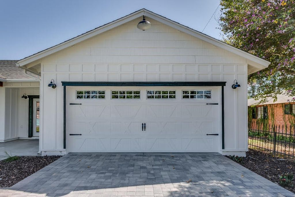 Camelback East Home White Exterior Houses House Paint Exterior Garage Door Design