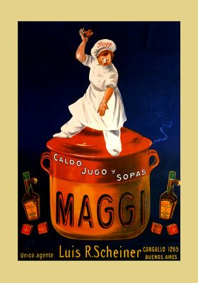 Maggi Chicken Soup Chef Kitchen Buenos Aires by Cappiello Poster Repro FREE S//H