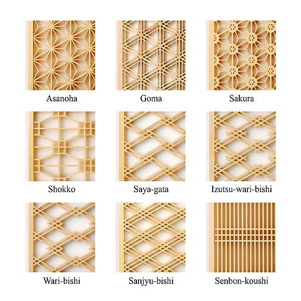 Kumiko Ramma Screen. Patron de madera para pantalla de papel - Diseños Japoneses