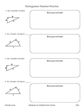 Pythagorean Theorem Practice With Answer Key Pythagorean Theorem