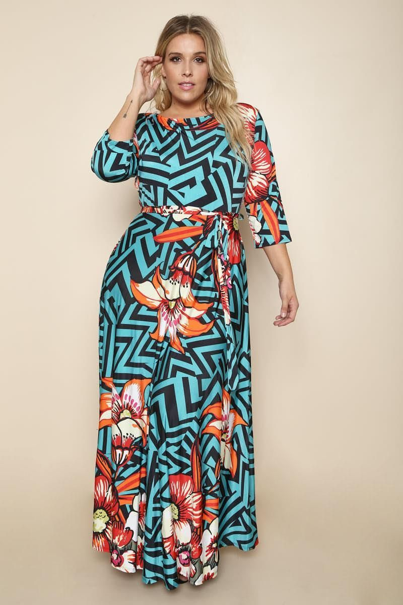 Self Tie 34 Sleeves Zig Zag Pattern Maxi Plus Size Dress Products