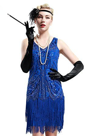 BABEYOND Women s Flapper Dresses 1920s V Neck Beaded Fringed Great Gatsby  Dress at Amazon Women s Clothing store  852da3ab7