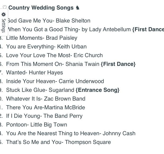 Top 15 Country Wedding Songs Planner Pinterest