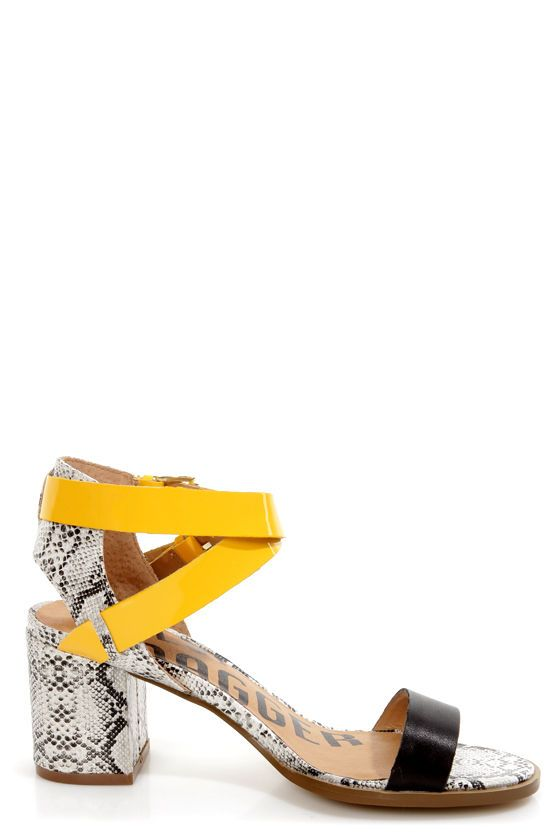 427f56658de Kelsi Dagger Carmanita Black and Yellow Snake Print Chunky Heels -  117.00