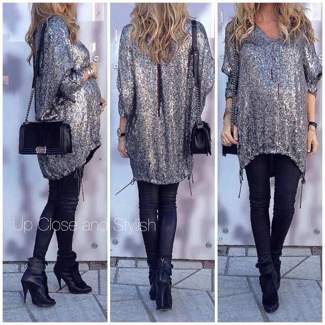 #i sequin  top  leather pants (