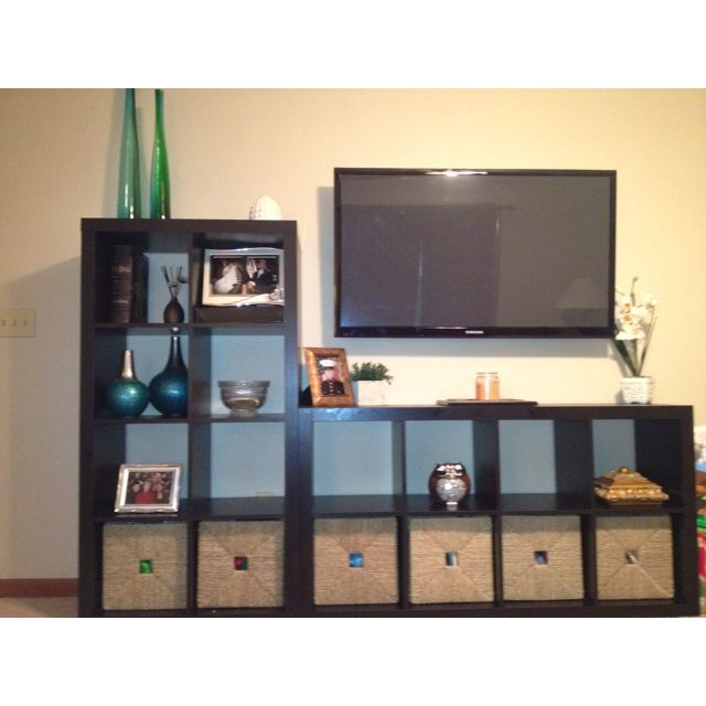 Easy Idea For Entertainment Center Two Bookcases From Ikea 1 Of Them Turned On