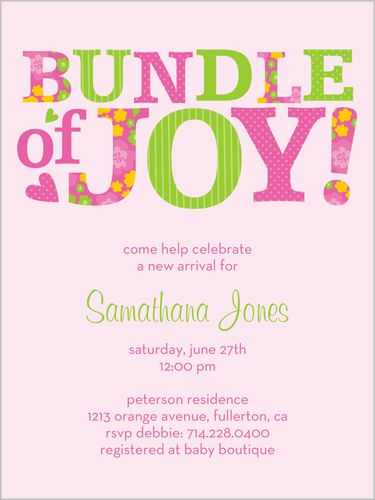 cute girl one Bundle Of Pink Baby Shower Invitation by Petite