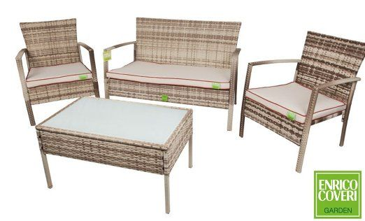 Salotto set giardino in rattan bahama sedie sofa tavolino