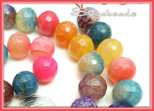 $12.00 in my Artfire store! Gorgeous Faceted Multi color Dragon Vein Agate Gemstone Beads 10mm