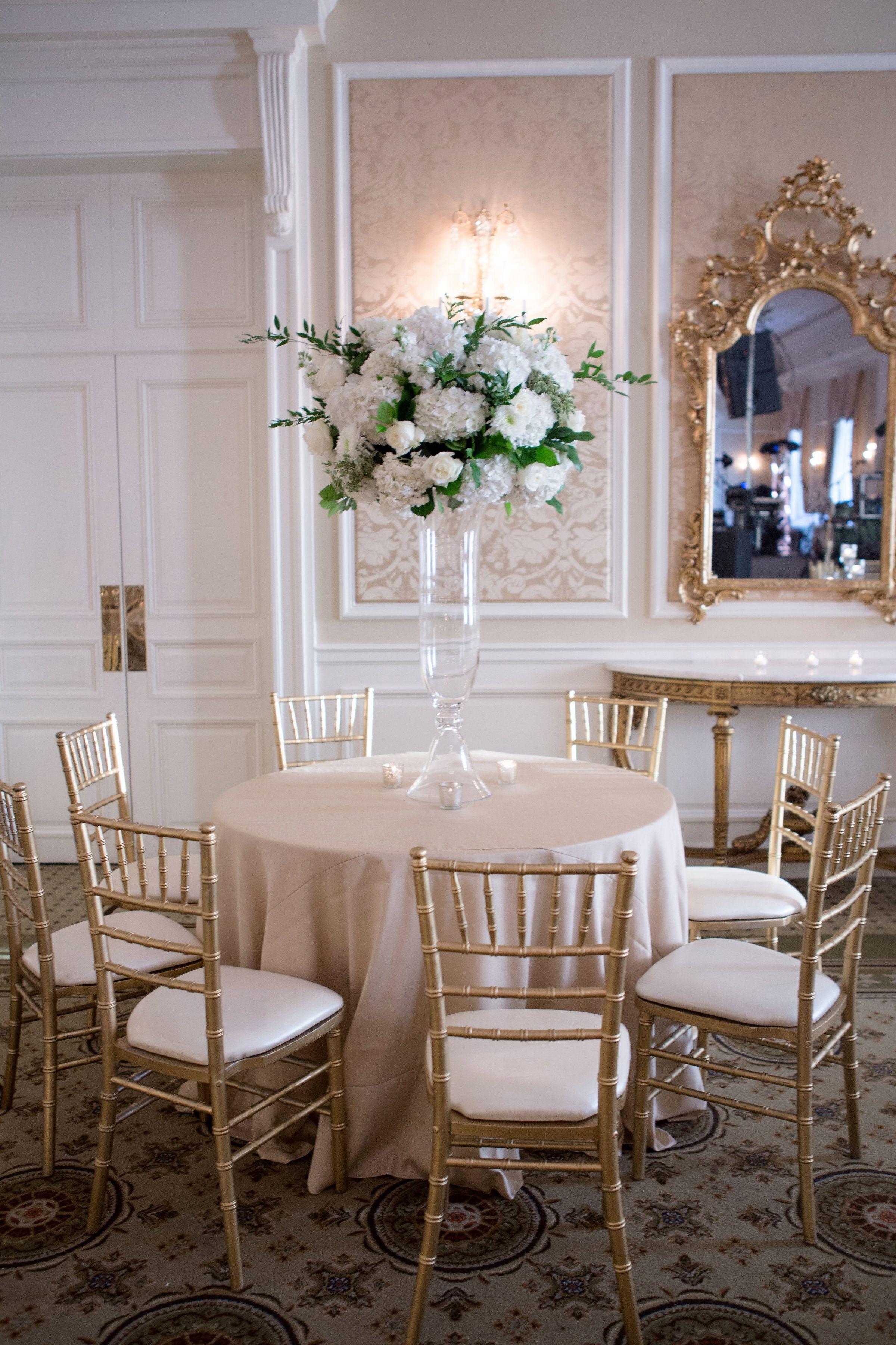 Dramatic Centerpiece With White Roses Lisianthus Ranunculus And Hydrangeas For Lush Winter Weddin Rental Furniture Floral Studio Floral Arrangements Wedding