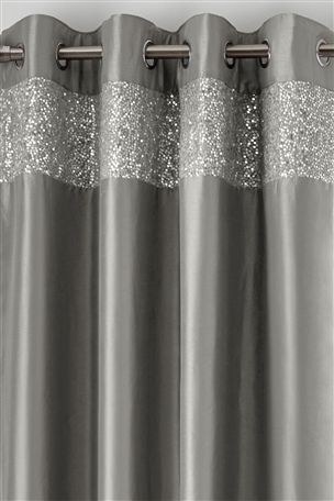 Buy Sequin Band Eyelet Curtain From The Next Uk Online Shop Curtains Silver Shower Curtain Grey Bedroom Decor