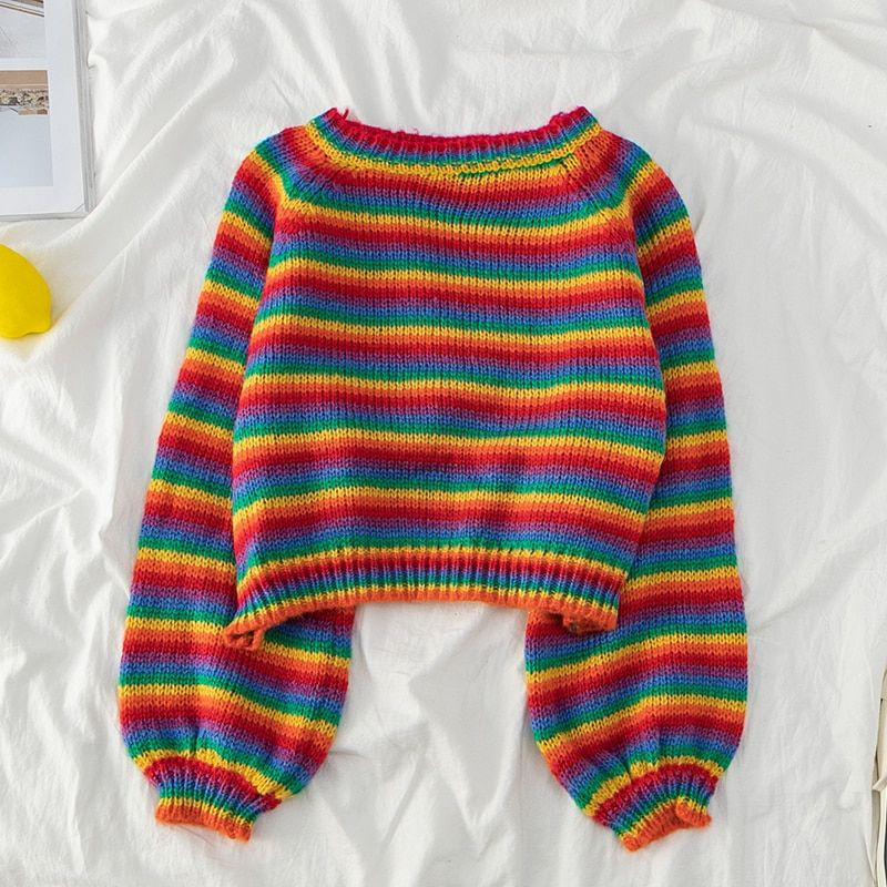 US $19.03 30% OFF|Korean Style Rainbow Sweater Loo
