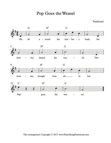 Pop Goes The Weasel Lead Sheet With Melody Chords And Lyrics
