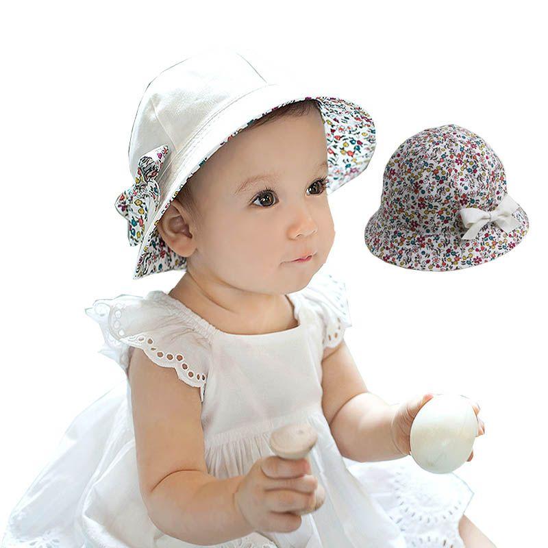 Blumendruck Baumwolle Baby Sommer Hut mit Bogen Weiß/Rosa Kinder ...