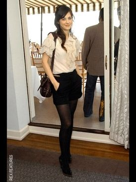 Love! Love! Love! Zooey Deschanel... This is the first time I've seen a shorts and tights ensemble look accessible