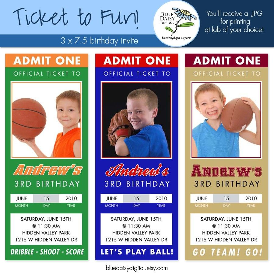 sports ticket birthday invitation template free super in 2018
