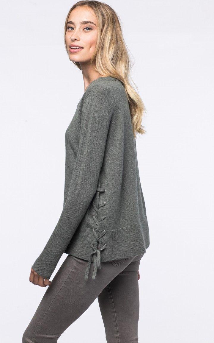 78726e08f8 Side lace-up sweater by  REPEATcashmere  winter2017  w17  winter  autumn   fall  wintercolour  autumncolour  laceup  ribbon  wool  cashmere  khaki   darkgreen ...