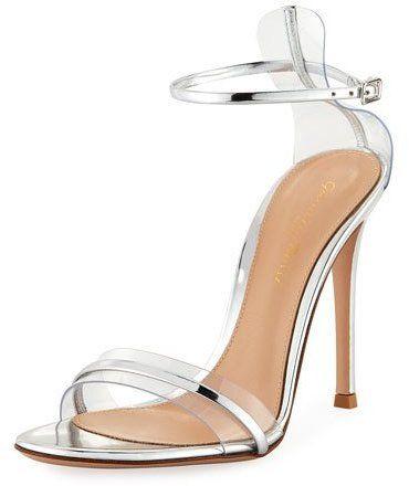 a5bd643bb Gianvito Rossi Plexi Metallic 105mm Ankle-Wrap Sandal