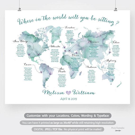 world map wedding seating chart printable large watercolor
