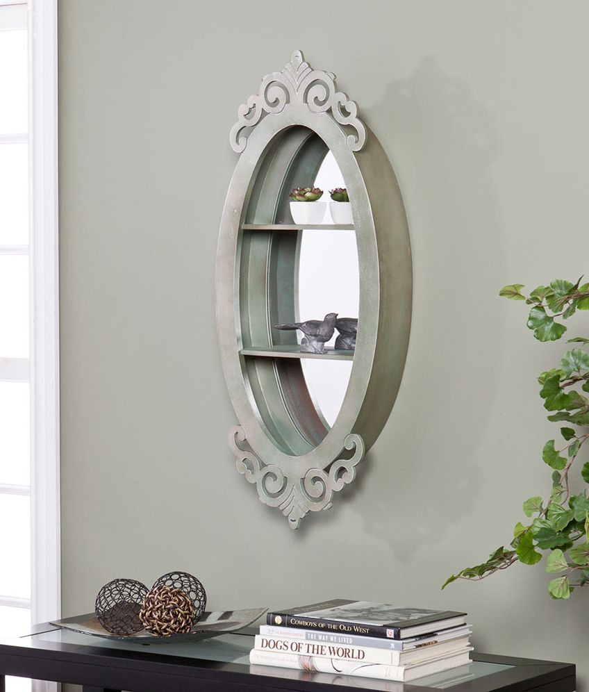Office Home Accessories Wall Mirror With Shelves A Beautiful