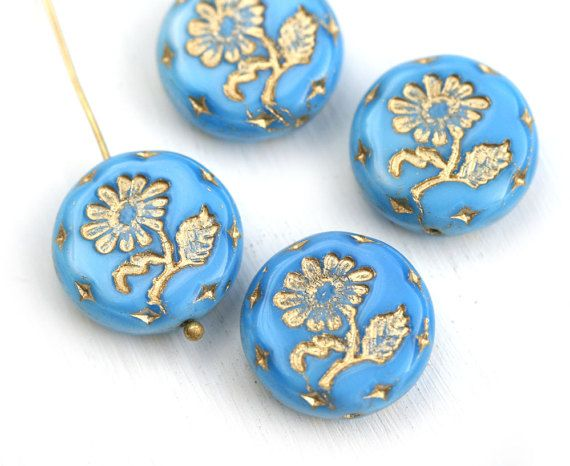 18mm Blue Flower beads Golden Wash Czech glass Round tablet