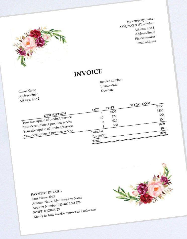 Excel Invoice Template Receipt Bill Business Invoice Etsy Invoice Template Printable Day Planner Receipt Template