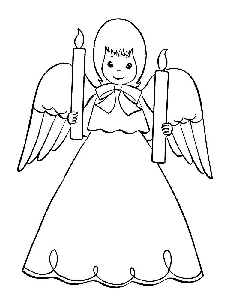 картинки разукрашки ангелочки