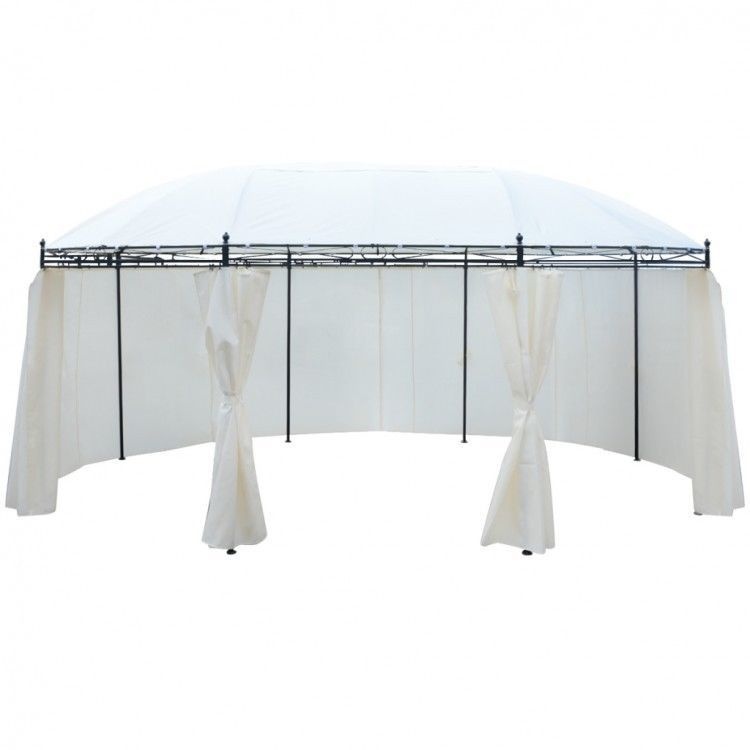 Details About Round Garden Gazebo Curtains Patio Party Tent Outdoor Canopy  Marque 8 SidePanels