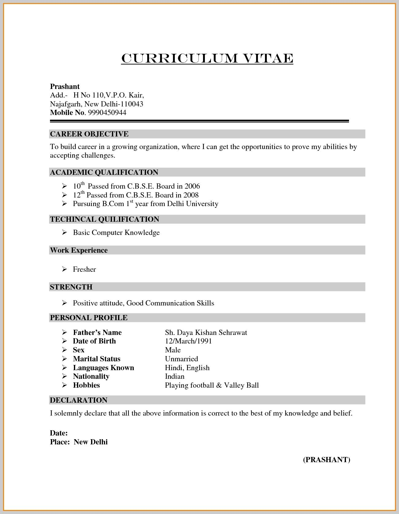 Image result for resume format for freshers Sample