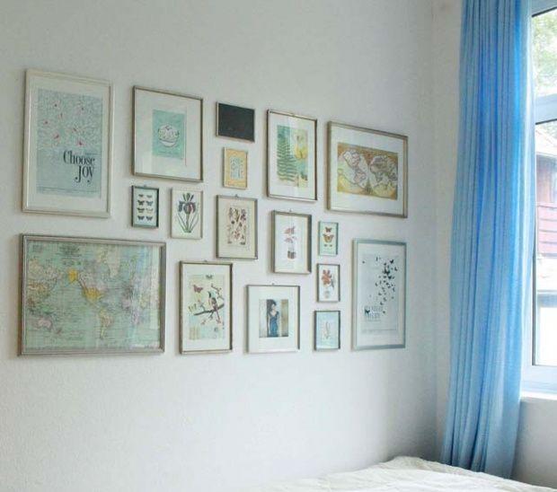 Wohnideen Bilderwand bilder aufhängen verschiedene anordnungen tipps und tricks für