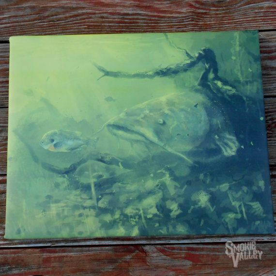 Flathead Catfish Painting 16x20 Canvas Wall Art By Smokievalley
