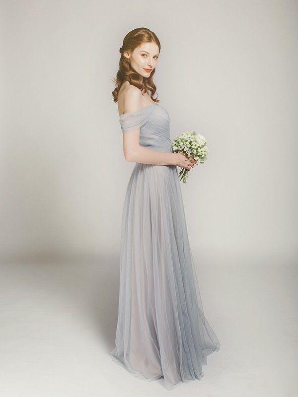 5e178702cbcc elegant off shoulder grey long bridesmaid dress swbd002