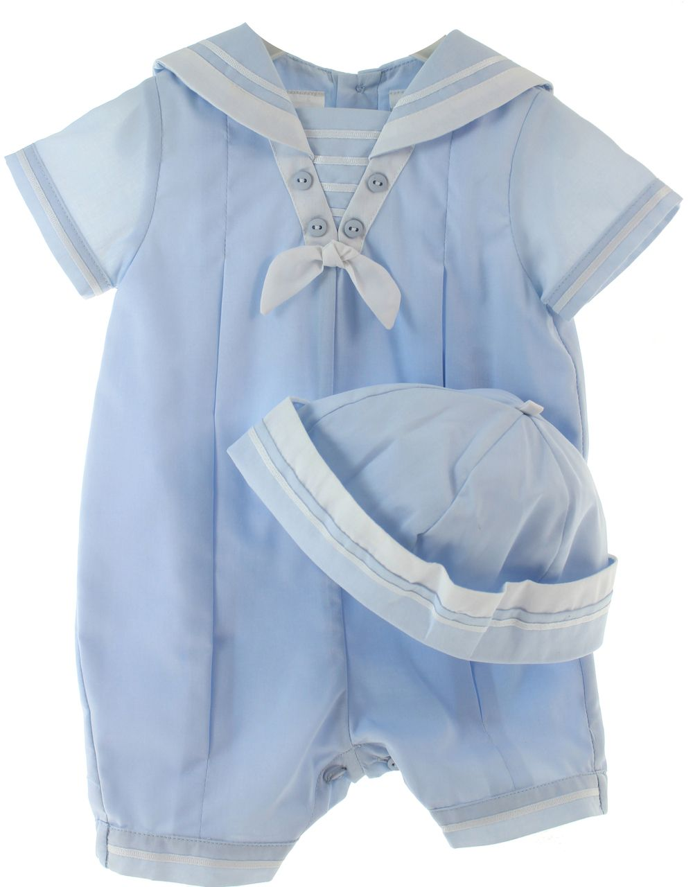 b9f7e12e1 Infant Boys Light Blue Sailor Shortall Outfit with Hat Set