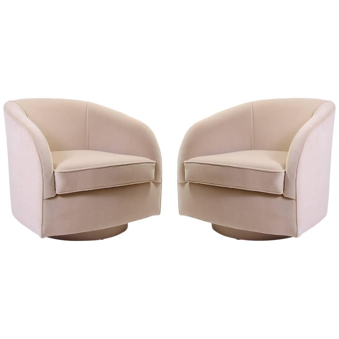 Mid Century Swivel Chairs In Sand Velvet
