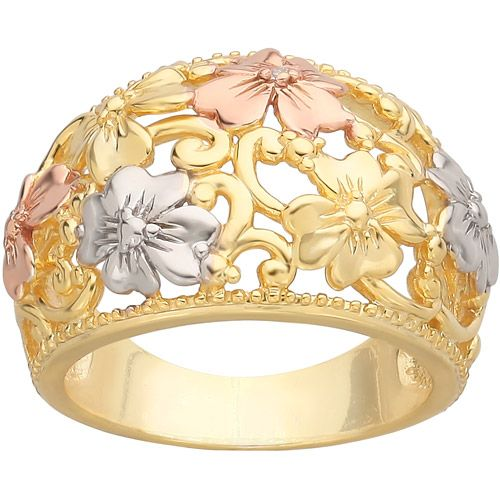 $58 Diamond-Accent Dome Flowers Ring in 18kt Yellow Gold over Sterling Silver
