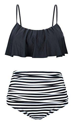 9b3ac8aed1 Angerella Vintage Cute Crop Top Flounce Stripes Bottom Bikini(BKI060-B1-L)