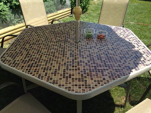Diy Tiled Table Refurbished Broken Glass Table Into This