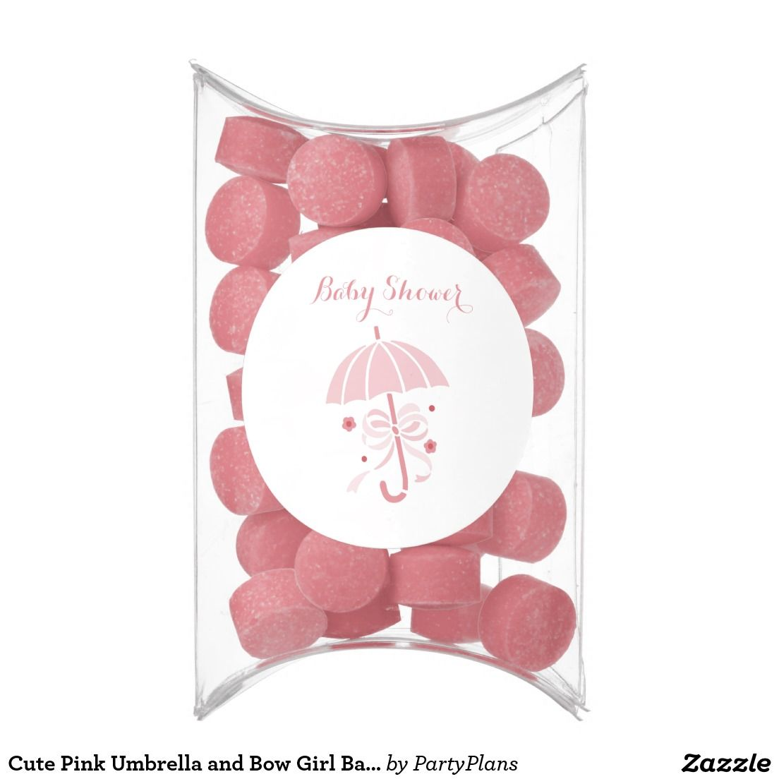 Cute Pink Umbrella and Bow Girl Baby Shower Chewing Gum Favors