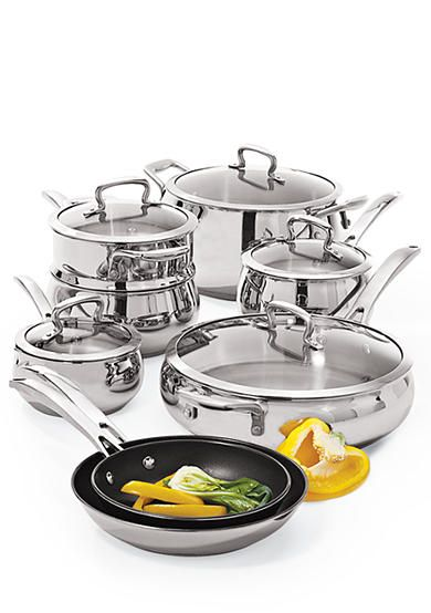 Biltmore Belly Shaped Stainless Steel 13 Piece Cookware Set With
