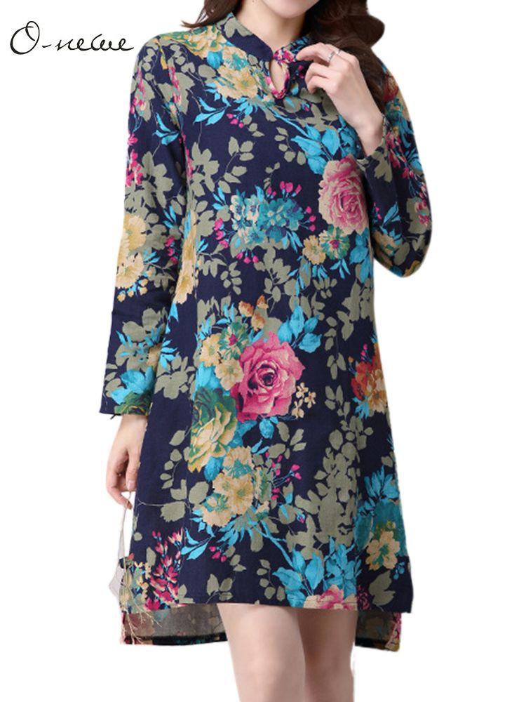 a454504fd3c71 Sale 16% (23.58 ) - Elegant Ethnic Style Women Flower Printed Split High  Low Mini Dress