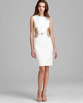 Anne Klein Belted Sheath Dress - Sleeveless Color Block on shopstyle.com