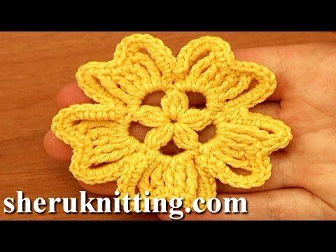 Сrochet Flat Star Flower Tutorial 90 Blume häkeln - YouTube | Häkeln ...
