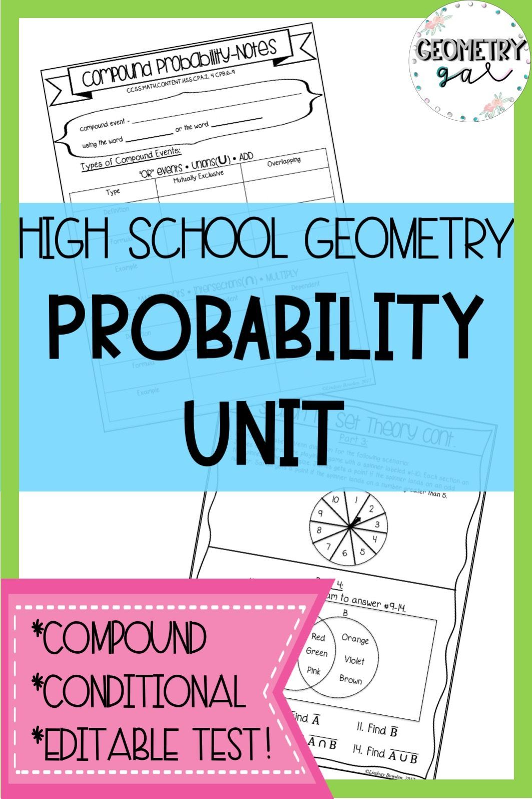 High School Probability Unit This Unit Covers Set Theory Compound Probability And Con Probability Worksheets High School Geometry Notes Geometry High School