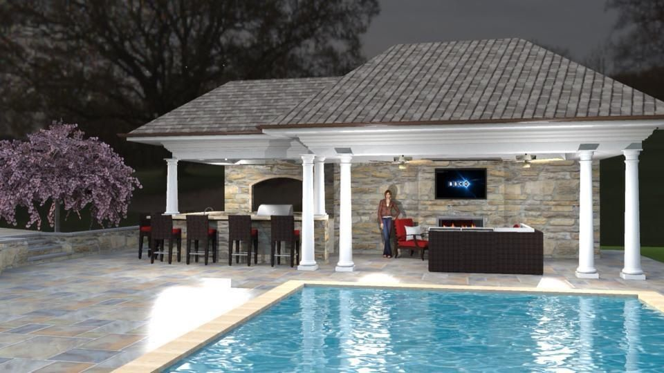 Pool cabana outdoor room pools pinterest for Outdoor pool cabana
