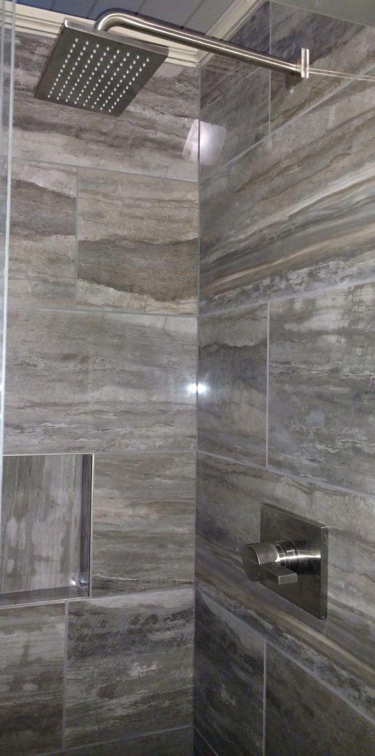 Masculine Rustic Bathroom Delta Monitor 14 Series Shower Head Daltile River Marble In Smoky