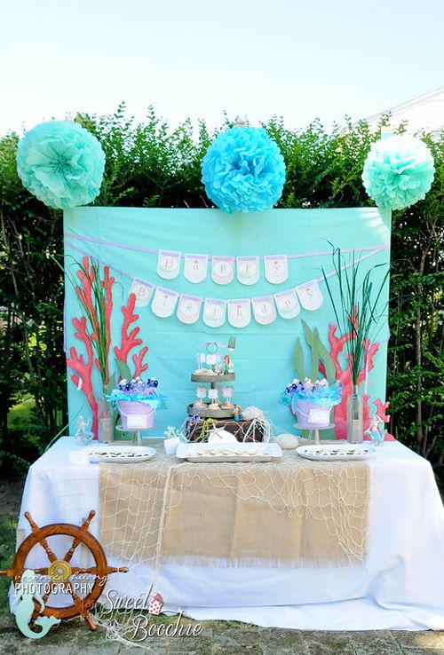 Little mermaid ariel inspired birthday party pinterest for Mesa dulce marinera