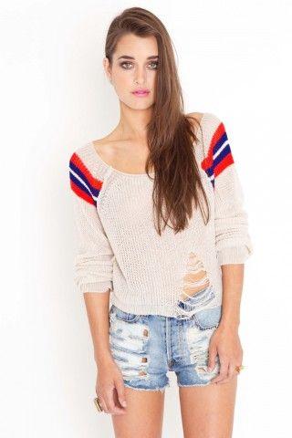Shredded Varsity sweater. I love it for some reason.