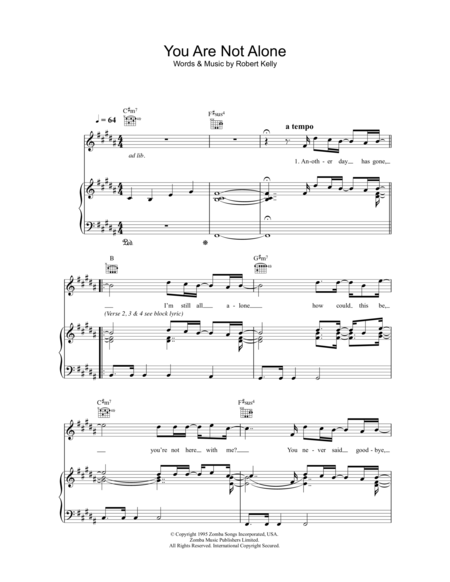 Download You Are Not Alone Sheet Music By R Kelly Sheet Music