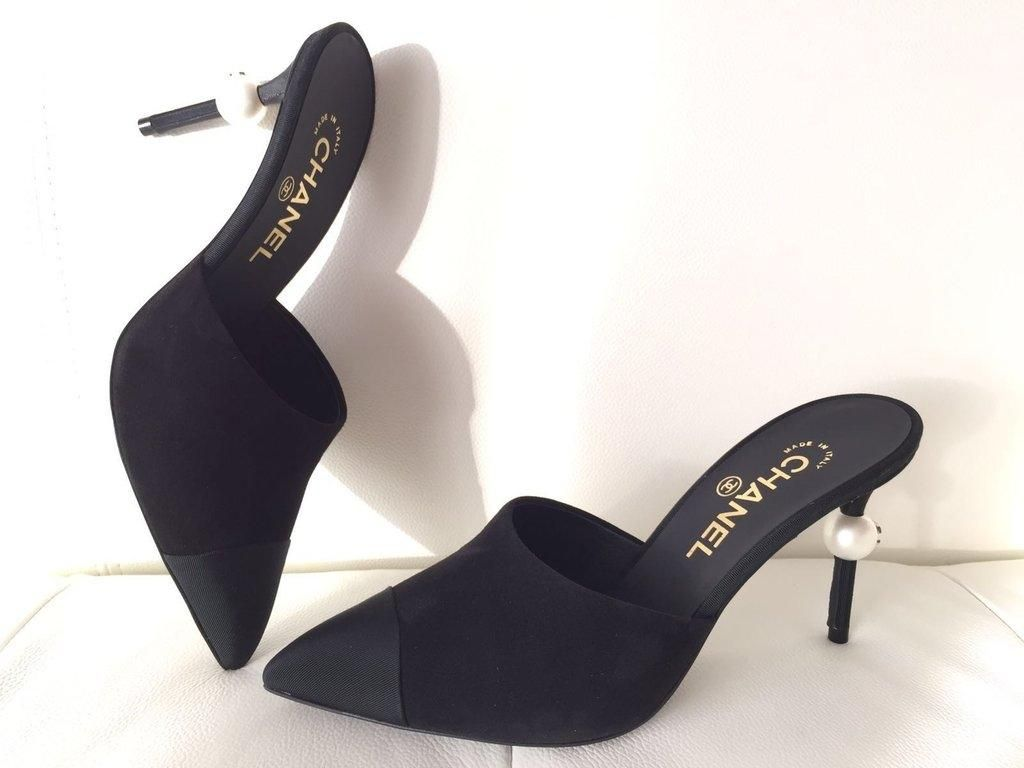 9b23933ca32f Chanel Runway Suede Heels Pearl Pumps 38 Black Mules. Get the must-have  mules of this season! These Chanel Runway Suede Heels Pearl Pumps 38 Black  Mules are ...