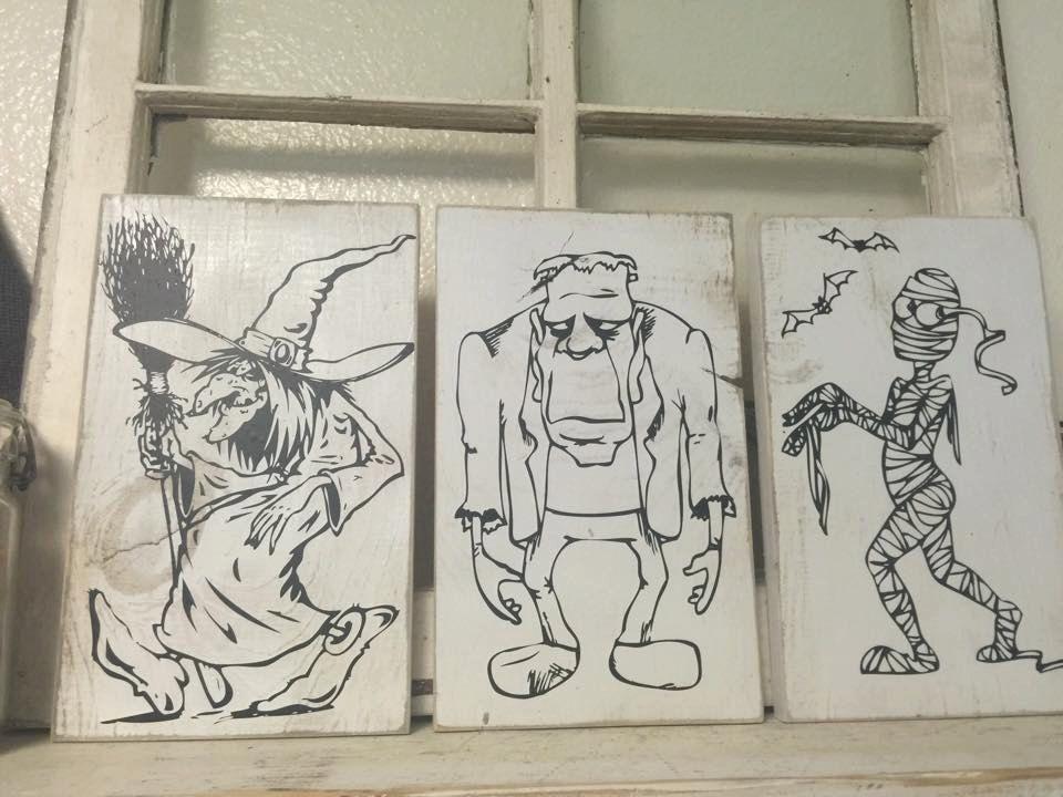Witch Frankenstien Mummy Halloween Set of 3 by iSTICKerTHAT